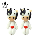 Handmade Polymer Clay Heart Cute Cow 3D Animal Stud Earrings For Women Girl Cartoon Earrings Party Gift - satisfaction-365.com