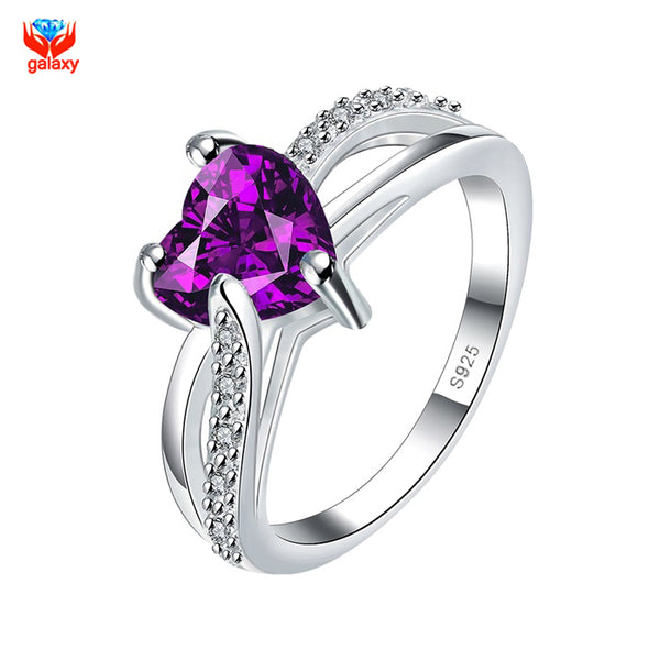 YHAMNI Romantic 2 Carat Purple Heart CZ Diamant Wedding Rings For Women Have S925 Logo 100% Silver Jewelry Engagement Ring YH536 - satisfaction-365.com