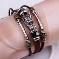 Tibetan silver men leather bracelet parataxis dragon Multilayer jewelry - satisfaction-365.com