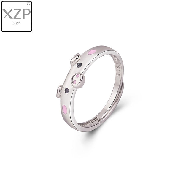 XZP S925 Cute Pink Enamel Pig Rings Popular Lucky Piggy Animal Couple Opening Ring Women Man Jewelry Lover Gift Adjustable
