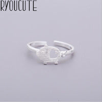Fashion Real 925 Sterling Silver Pig Rings for Women Wedding Jewelry Punk Retro Antique Adjustable Size Finger Big Ring