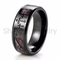Men's Black Three Cross Camo Ring ,Titanium Outdoor Camouflage Anniversary Band Wedding Ring for Men-8mm - satisfaction-365.com