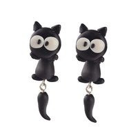 Handmade Polymer Clay Lovely Cat Dangle Earring For Women . - satisfaction-365.com