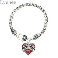 Diabetic, Medical Alert Charm Bracelet, Rhinestone, Crystal Heart Bracelet - satisfaction-365.com