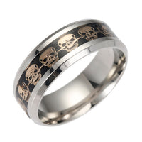 Never Fade Stainless Steel Skull Ring Gold Filled Blue Black Skeleton Pattern, - satisfaction-365.com
