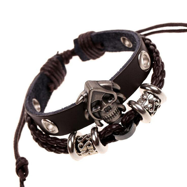 Men's Skeleton Studded Skull Leather Woven Snake Chain Bracelet .