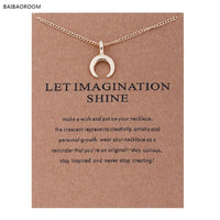 Fashion Jewelry Let Imagination Shine Crescent Card Moon Choker Necklace - satisfaction-365.com