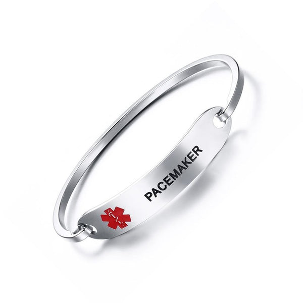 Women Stainless Steel Medical Alert ID Tag Bangle Bracelet . - satisfaction-365.com