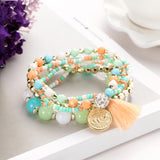 New Crystal Multi color Beads Weave Bracelet Tassel Multi layer Steampunk Bracelets ! - satisfaction-365.com