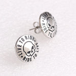 Silver Live to Ride Biker Earrings Stainless Steel Motor Club Stud Earrings - satisfaction-365.com
