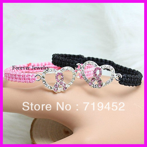Beautiful pink and black breast cancer bracelet, - satisfaction-365.com
