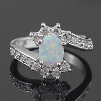 White Fire Opal CZ Fashion Jewelry Opal Rings Size 6 7 8 9 - satisfaction-365.com