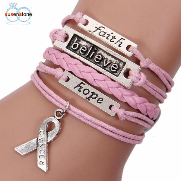 Pink Gray Bracelet  Love Charm Braided Leather Cancer Awareness Ribbon Bracelet  Love Charm - satisfaction-365.com