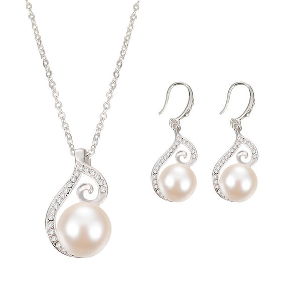 Women Bridal Imitation Pearls Crystal Wedding Jewelry Set Necklace Earrings - satisfaction-365.com