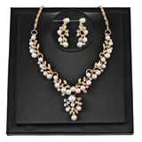 Pearl Rhinestone Necklace + Earrings - satisfaction-365.com