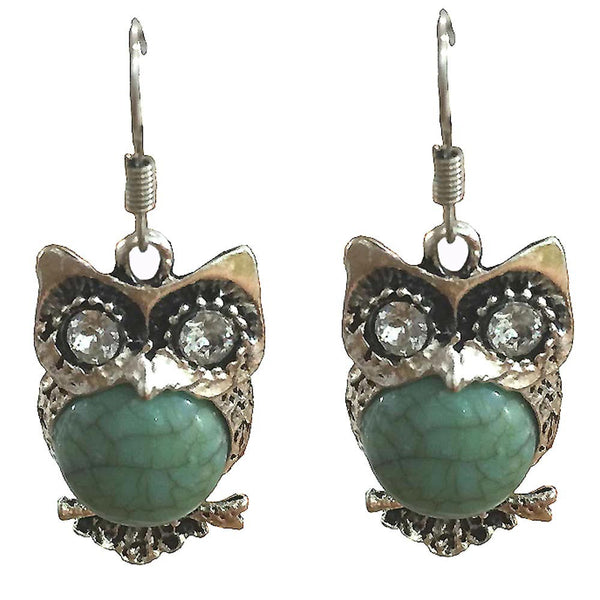 Retro Owl Turquoise Earrings Delicate Carved Jewelry - satisfaction-365.com