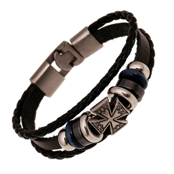 Men's  Alloy Leather Bracelet. - satisfaction-365.com