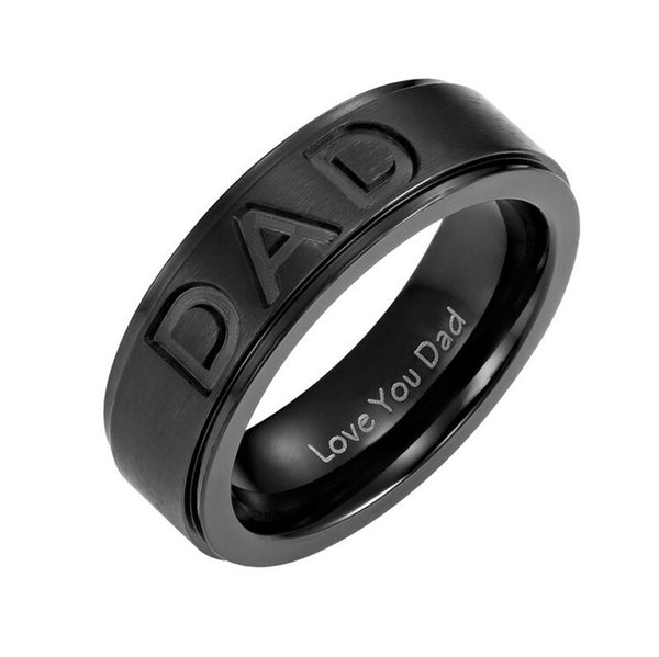 Stainless Steel Dad Ring Engraved  with (Love You Dad) Ring . - satisfaction-365.com