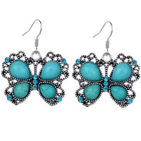 Vintage Butterfly Turquoise Delicate Carved Earrings . - satisfaction-365.com