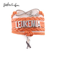 leukemia Awareness leather wrap bracelet & bangles. - satisfaction-365.com