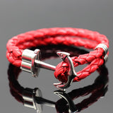 Men Multi layer Leather Handmade Cuff  Anchor Bracelet Bangle - satisfaction-365.com