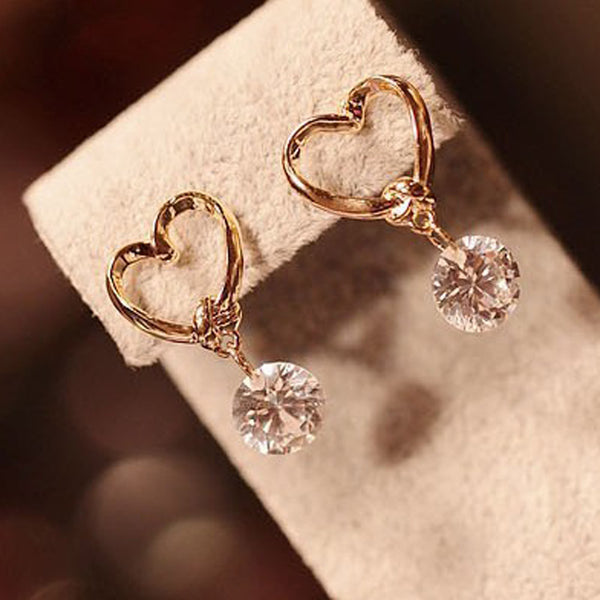 Heart Clear Crystal Earrings ( New Arrival ) - satisfaction-365.com