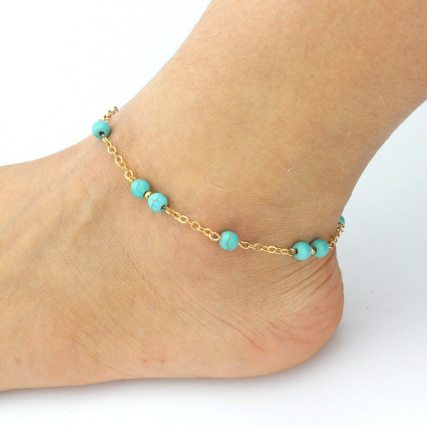 Beaded Turquoise  Anklet . - satisfaction-365.com