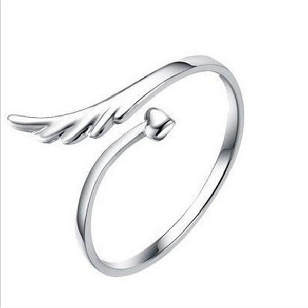 Silver Plated Angel Wing Open Ring . - satisfaction-365.com