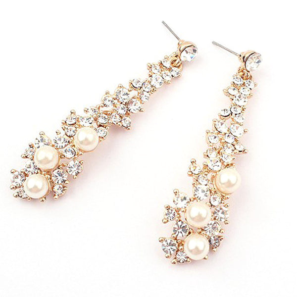 Women Rhinestone Long Drop Earrings - satisfaction-365.com