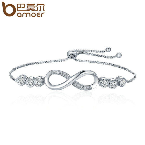 BAMOER Hot Sale Popular Silver Color Endless Love Infinity Bracelet Lace up Tennis Bracelets for Women Fashion Jewelry YIB037 - satisfaction-365.com