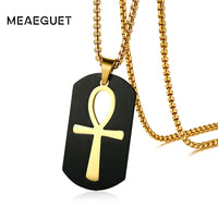 "Gold-color Stainless Steel Pendant For Men, Key To Life Egyptian Cross With 24"" Box Chain - satisfaction-365.com"