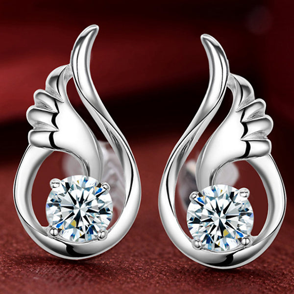 925 Sterling Silver With Clear and Purple Cubic Zircon Crystal  Wings Stud Earrings - satisfaction-365.com