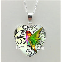 Hummingbird Art Heart Pendant Jewelry Silver Heart Necklace . 15 Variants - satisfaction-365.com