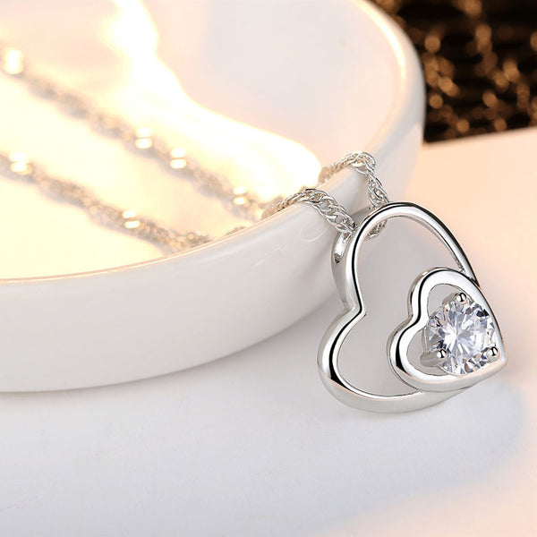 Fashion Women Double Heart Pendant Necklace Chain Jewelry - satisfaction-365.com