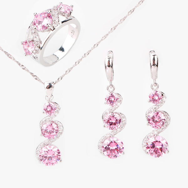 Round Pink Zircon 925 Sterling Silver Jewelry Set . Women Earrings With Stone Jewelry Gift Box. - satisfaction-365.com