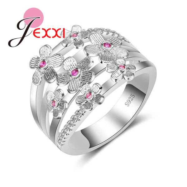 Vintage Flower Rings For Women With Cubic Zircon 925 Sterling Silver Rings - satisfaction-365.com