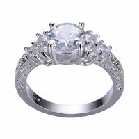 Big Shining Stone Silver Color Carved Hollow Infinity 8 Flower Prong Setting Crystal CZ - satisfaction-365.com