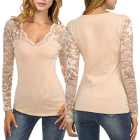 Women's Solid Long Sleeve Lace Stitching V-Neck Pullover Blouse