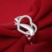 Women Heart Dolphin Shaped Silver Plated Ring ! - satisfaction-365.com
