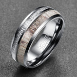 8MM Wide 100% Tungsten Carbide Steel Men Ring Wedding Bands Men's Jewelry Imitation Rock Stone Antler Rings