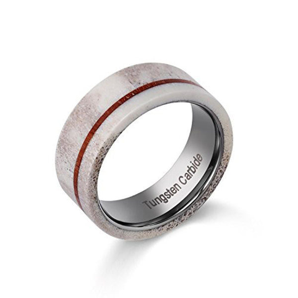 Man's Wedding Tungsten Rings with Real Deer Antler and Thin Stripe Koa Wood for Hunting Rings 7-11