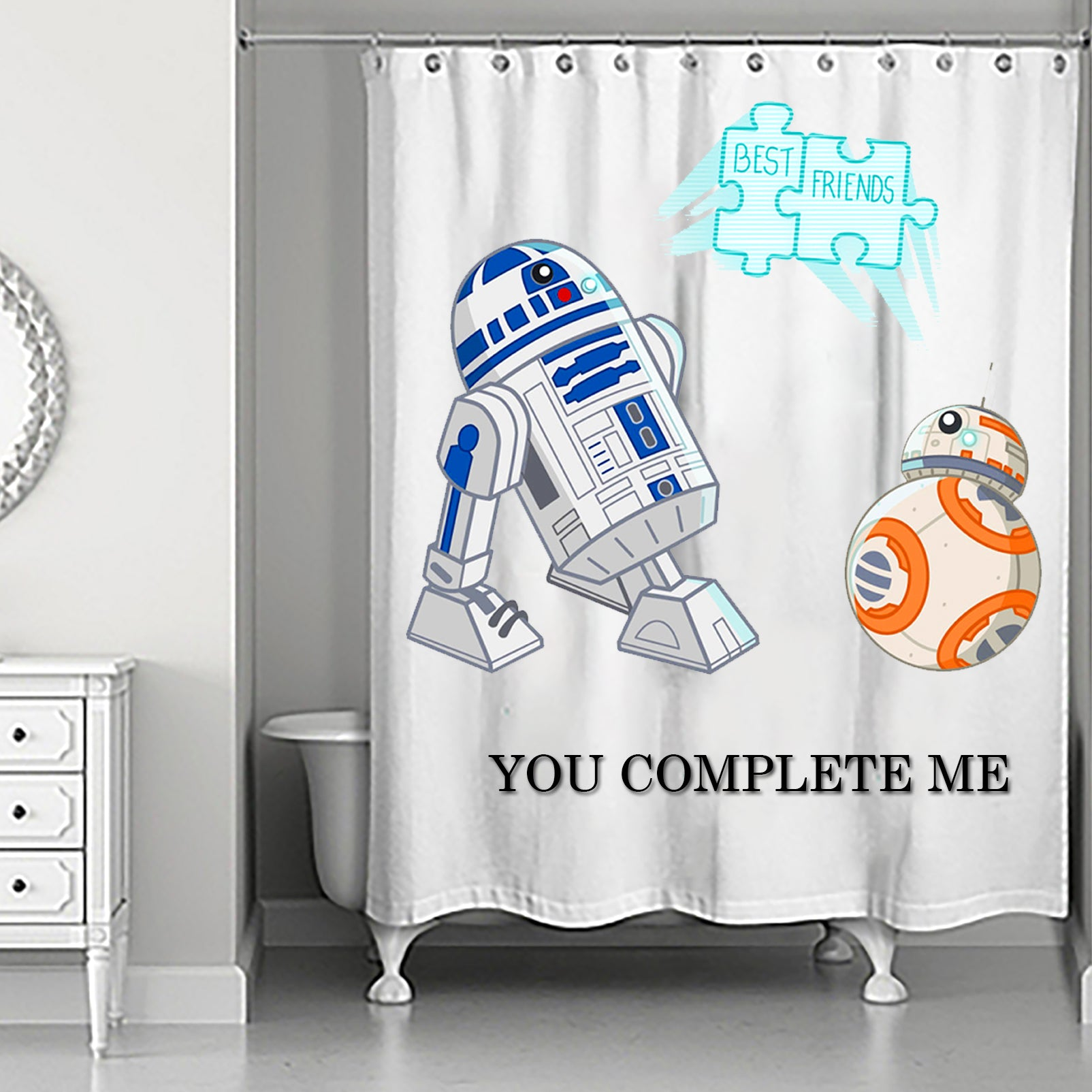 Starwars Shower Curtain R2d2 Meet Bb8 High Quality Waterproof Polyester Fabric Bathroom Curtains