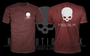 Revolution Ink Logo - Cranberry/White