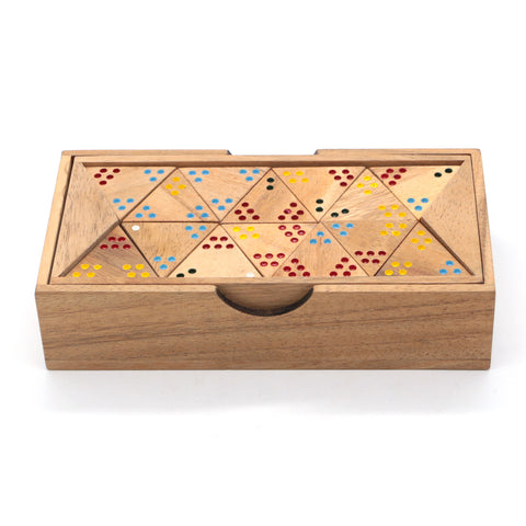 The Classic Triangular Domino Game Wooden Family Board Game