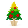 BSIRI Wooden Christmas Tree Puzzle Colorful Jigsaw for Kids Brain Item