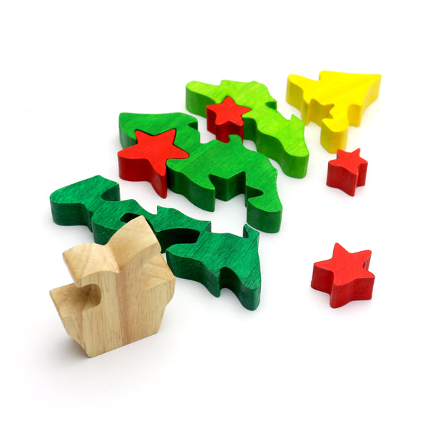Bsiri Christmas Tree Wooden Puzzle Colorful Wooden Jigsaw