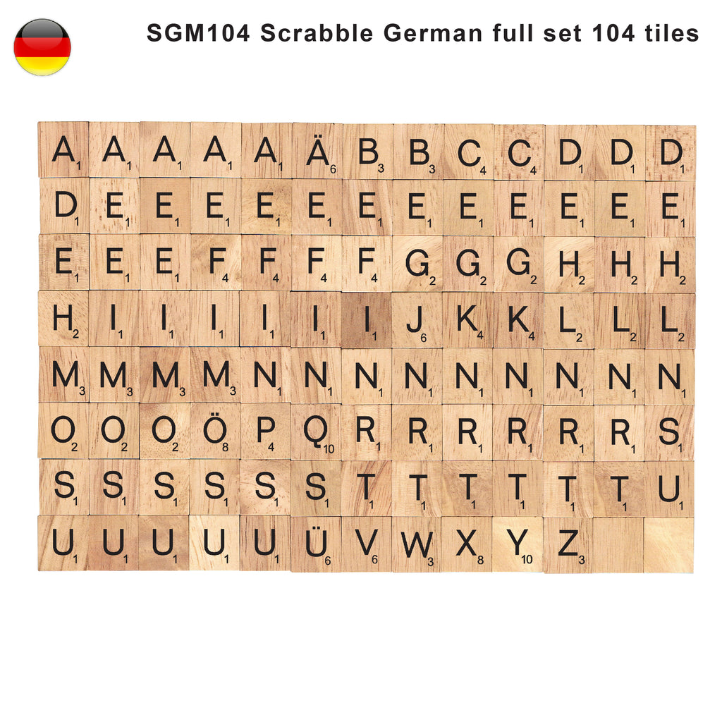 German Language Wooden Letters Tiles Complete Set of 104 Pcs