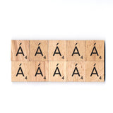 Letter Á Wooden Scrabble Tiles for Crafts Designs and Mini Artworks