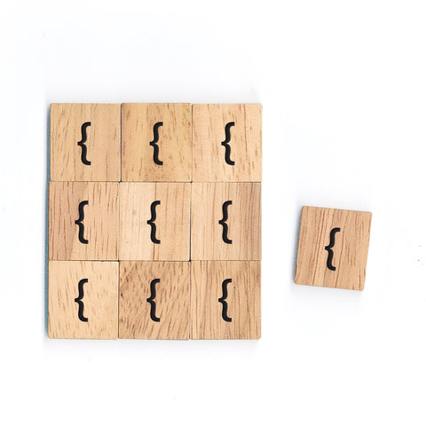 SM24 { } Braces Sign Math Symbol 1 piece Wooden Scrabble tiles