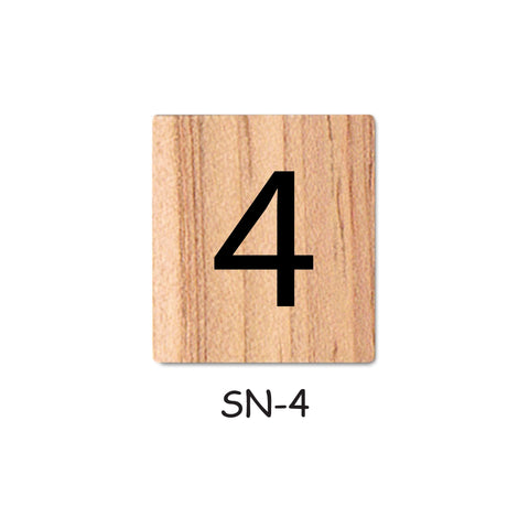Number 4 Wooden Scrabble tiles